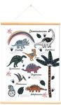Schoolplaat dinosaurussen wit