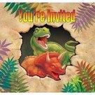 Uitnodigingen-(8x)-(T-rex-Feest)