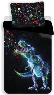 Dinosaurus Dekbedovertrek Zwart/gekleurd (140x200cm)