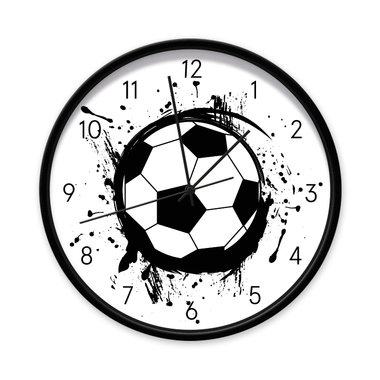 Voetbal klok - 40 cm (zwarte rand/zwarte wijzers)