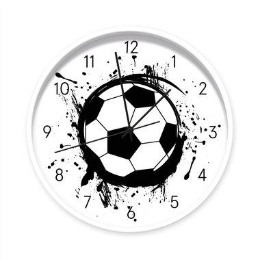 Voetbal klok - 40 cm (witte rand/zwarte wijzers)