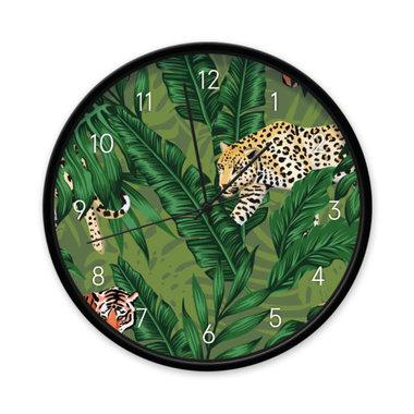 Jungle klok - 30 cm (zwarte rand/zwarte wijzers/witte cijfers)