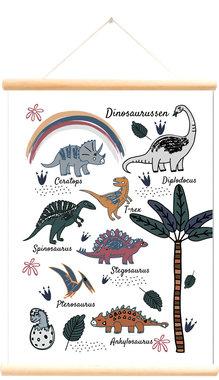 Schoolplaat dinosaurussen wit (50 x 70 cm)
