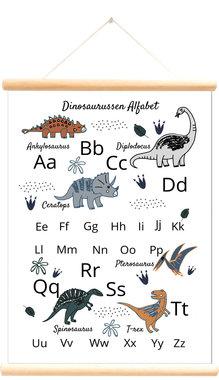 Schoolplaat dinosaurussen alfabet wit (50 x 70 cm) - Little & Pure