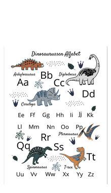 Poster dinosaurussen - alfabet (50 x 70 cm) - Little & Pure