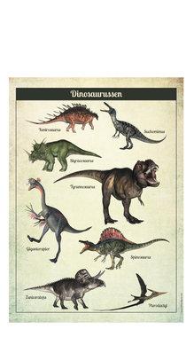 Poster dinosaurussen & skeletten (dubbelzijdig) (50 x 70 cm)