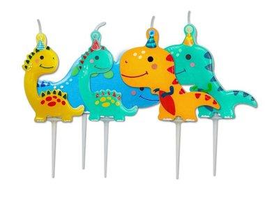 (5x) Dinosaurus kaarsjes met feestmuts