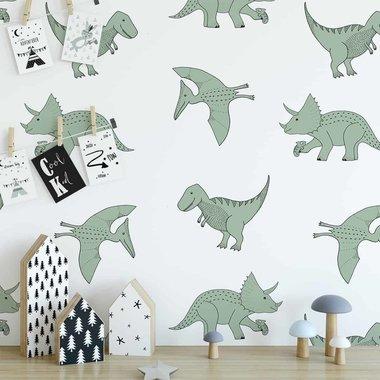 Dinosaurus behang (vlies) - zachtgroen