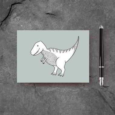 Ansichtkaart T-rex Dinosaurus - groen