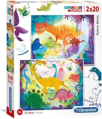 2 x 20 puzzelstukjes Vrolijke dino's