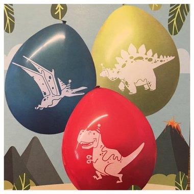 Ballonnen Dinosaurus (6x) (blauw-rood-groen)