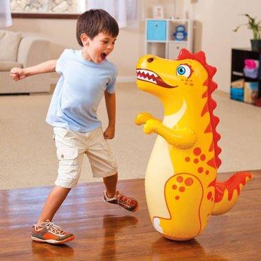 Opblaasbare box 3D Bop Bag dinosaurus - Geel