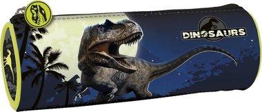Etui dinosaurus T-rex blauw (rond)