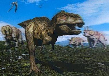 3D lenticulaire T-rex kaart (blauw)