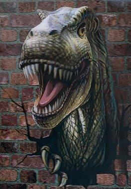 3D lenticulaire T-rex uit muur