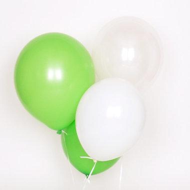 Ballonnen 10x (groen-wit-beige)