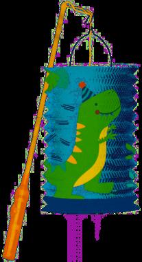 Dinosaurus lantaarn - lampion + incl. stok & lampje - 40 cm