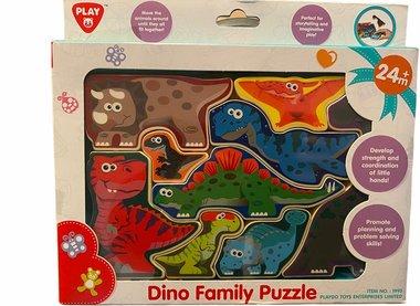 9 stukjes (blokjes) dinosaurus puzzel - vanaf 2 jaar