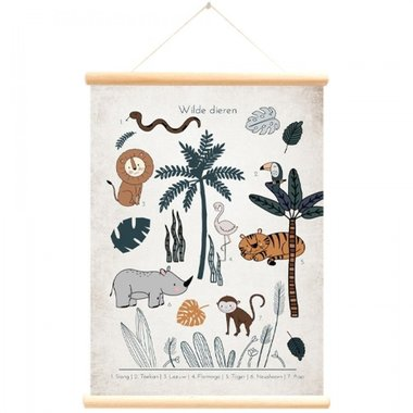 Schoolplaat wilde dieren (50 x 70 cm) - Little & Pure