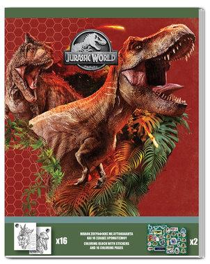 Jurassic World kleurboek + stickers - rood