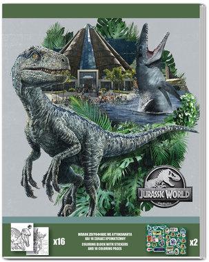 Jurassic World kleurboek + stickers - grijs