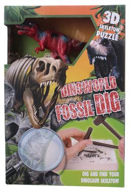Dig it out: (Groot pakket) T-rex skelet (blok) met extra speeldino (Dinoworld)