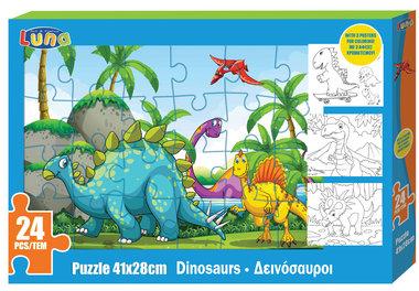 24 stukjes Vrolijke dino's puzzel