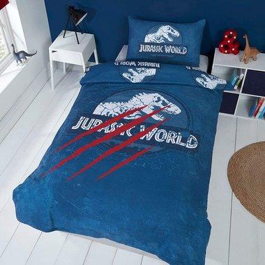 Jurassic World dekbedovertrek - 135 x 200 cm -blauw