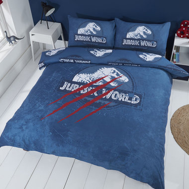 Jurassic World dekbedovertrek - 200 x 200 cm -blauw