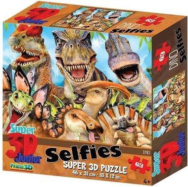 63 stukjes - Selfies dinosaurus Prime 3D puzzel (klein deukje aan de hoek van de doos)