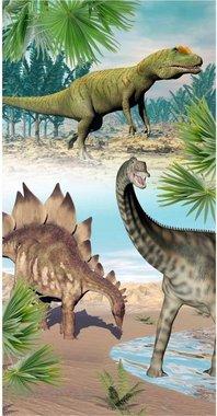 Handdoek - Badlaken Dinosaurus - Velours - (75 x 150 cm)