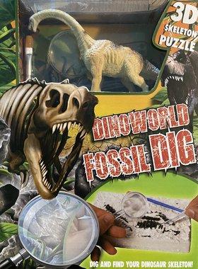 Dig it out: Brachiosaurus skelet (blok) met extra speeldino (Dinoworld)