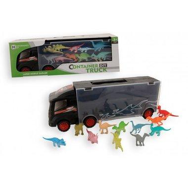 Dinosaurus Container Truck met 12 dino's - 30 cm