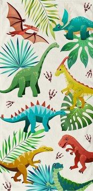 Handdoek - Badlaken Vrolijke Dinosaurussen - Velours - (75 x 150 cm)