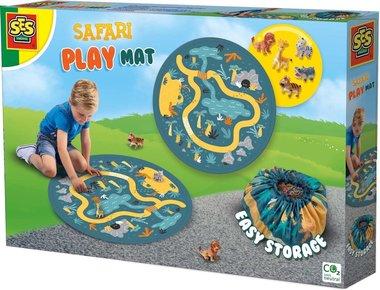 Speelmat  & Opbergzak met 5 (safari) dieren (SES)