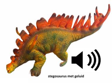 Speeldino Stegosaurus (met geluid) - rood/bruin - 30 cm
