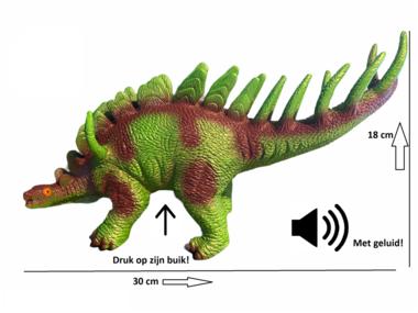 Speeldino Stegosaurus (met geluid) - groen/bruin - 30 cm