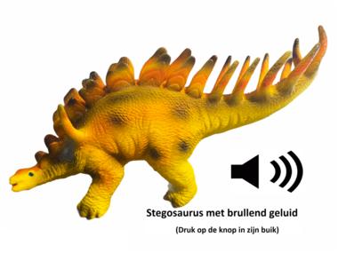 Speeldino Stegosaurus (met geluid) - geel/oranje - 30 cm