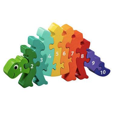 Houten regenboogpuzzel  - 1 tot 10 Dinosaurus (10 STUKS)