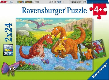2 x 24 stukjes - spelende dino's -  puzzel