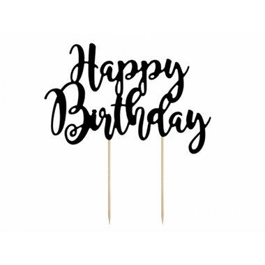 Happy Birthday topper - zwart - groot (20 x 24 cm) - Partydeco