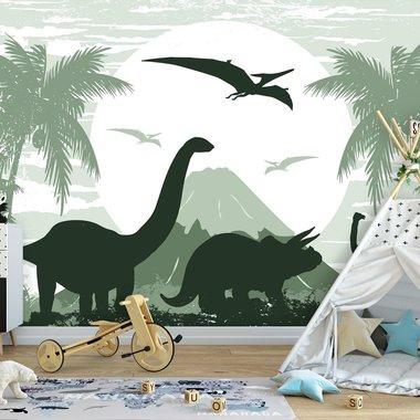 Dinosaurus Posterbehang - groen - VLIESBEHANG (368x254cm)