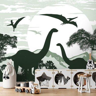 Brontosaurus behang - groen - VLIESBEHANG (368x254cm)