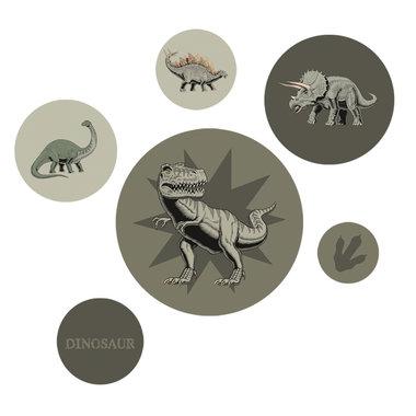 Muurstickers Dino (6 stuks) -  dusty groene kleuren