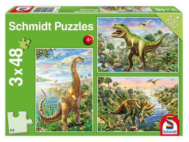 48 stukjes (3x) Dinosaurus Schmidt Puzzel