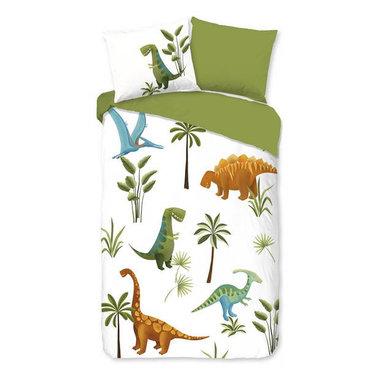 Dinosaurus dekbedovertrek - (140 x 200 cm) - wit/olijf groen