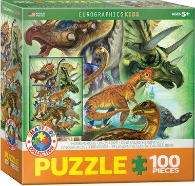 100 stukjes Dinosaurus Puzzel - Herbivoren dinosaurussen