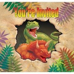 Uitnodigingen (8x) (T-rex Feest)