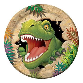 Bordjes (8x) 23 cm (Tyrannosaurus Feest)