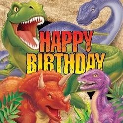 Servetten Happy Birthday (16x) (Tyrannosaurus Feest)